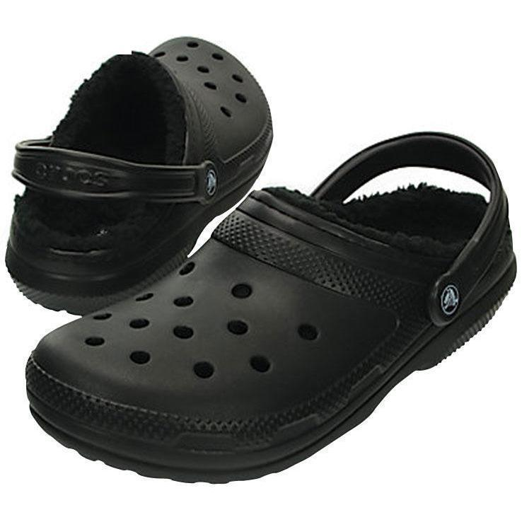 7f2f4d804 Crocs Classic Fuzz Lined Clogs - Black Mens 4   Womens 6 ...