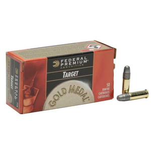 Federal Premium Gold Medal 22 Long Rifle 40gr RN Rimfire Ammo - 50 Rounds