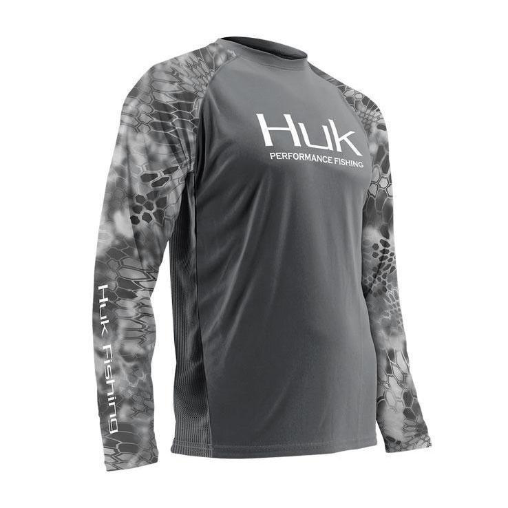 64ef19768f0 Huk Men s Kryptek Performance Vented Long Sleeve Shirt - Gray XL ...