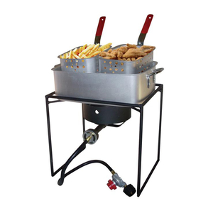 King Kooker 54,000 BTU Propane Gas Outdoor Cooker with Rectangular Aluminum Fry Pan and Two Baskets