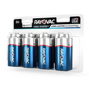 Rayovac D HIGH ENERGY Alkaline Batteries - 8 Pack