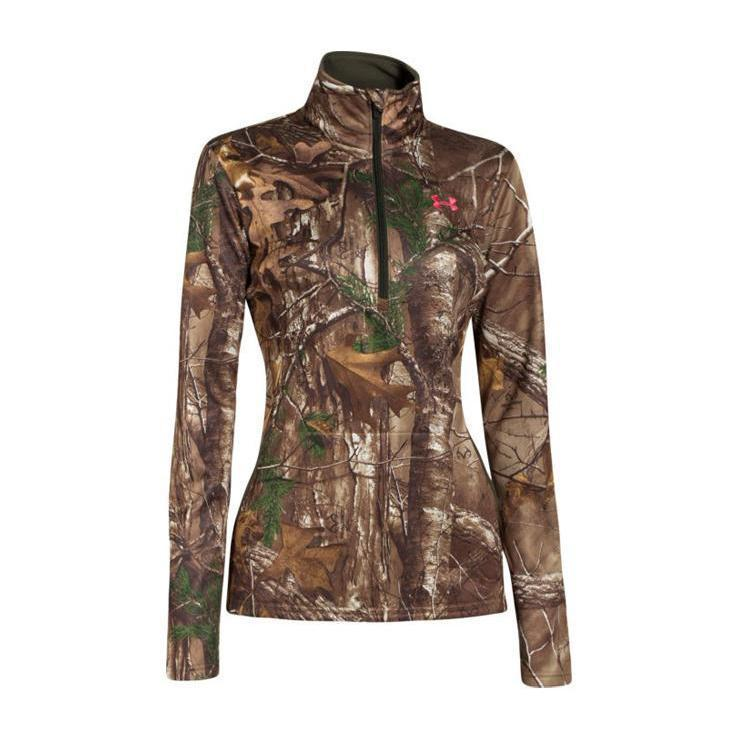 Under Armour Womens Performance 14 Zip Shirt Realtree Xtra L